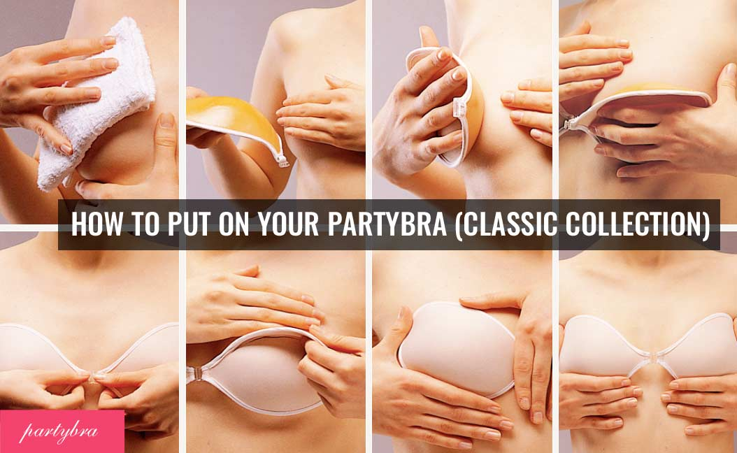 how to put on a sticky bra